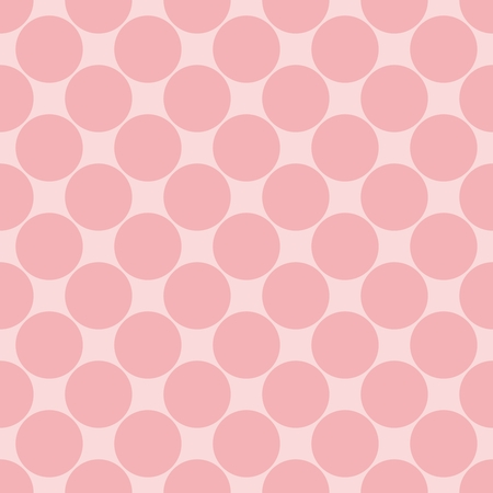 repetition dotted row: Tile vector pattern with pink polka dots on baby pink background
