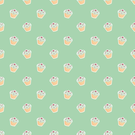 Seamless vector pattern or texture with little cupcakes, blueberry muffins, sweet cake on mint green background  Vector