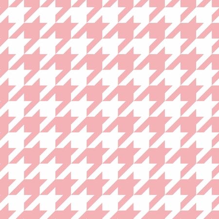 Vektor Houndstooth Fliesen Pastellrosa und Weiß-Muster oder Hintergrund