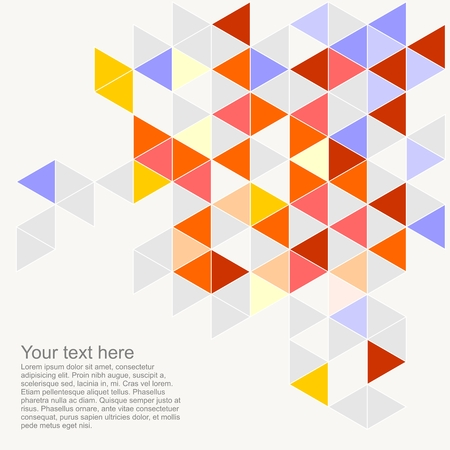 Pastel colorful vector background illustration with empty space for text  Grey, orange, red, yellow, blue triangle geometric mosaic card document template  Hipster flat surface chevron zigzag print design Vector