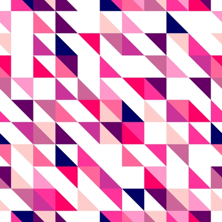 Seamless pink violet and white vector pattern, texture or background  Colorful geometric mosaic shapes  Hipster flat surface design triangle wallpaper with aztec chevron zig zag print Vector