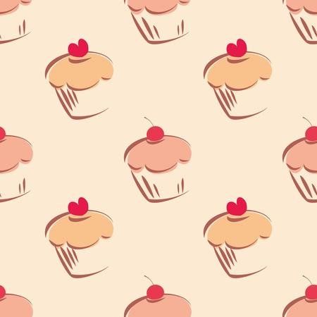 desktop wallpaper: Seamless vector pattern or tile texture with little cupcakes, muffins, sweet cake cherry and red heart on top  Background with sweets for valentines, wallpaper, desktop or culinary blog website