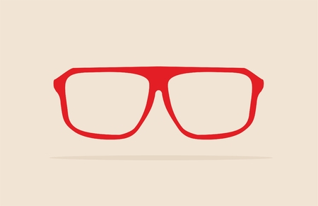 eyewear fashion: Red nerd glasses with thick holder - retro hipster vector illustration isolated on beige background  Medical huge eye glasses silhouette  Illustration