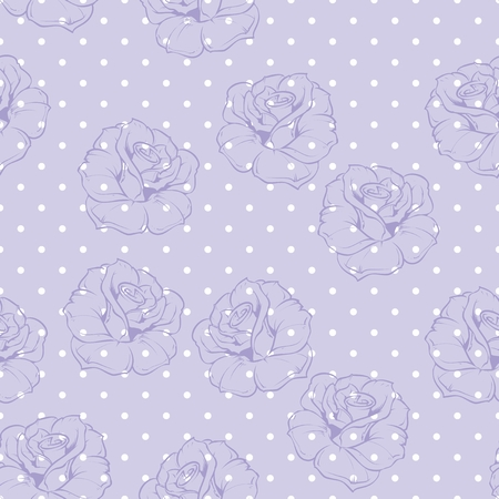 Seamless floral vector pattern with violet retro roses on polka dots blue background  Beautiful abstract vintage texture with pink flowers and cute background  Vector