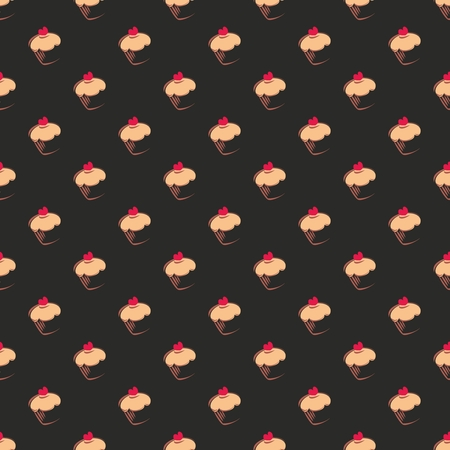 Seamless vector dark pattern, texture or background with big sweet muffin cupcakes on chocolate black background  Red lovely heart on top  For web design, culinary blog or desktop wallpaper Vector