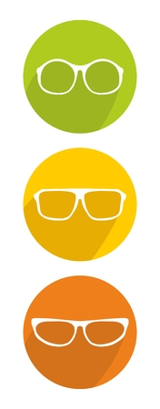 shilouette: White glasses icon set isolated on white background