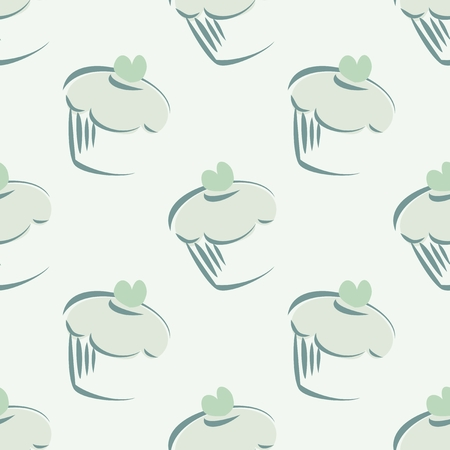 Seamless pattern or texture with mint cupcakes, hipster muffins, sweet cake on green background   Vector