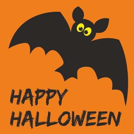 calabaza caricatura: Tarjeta de la Feliz fiesta de Halloween con el bate y deseos dibujados a mano Vectores