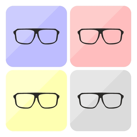 eyewear fashion: Glasses vector set with black thick holder hipster illustration isolated on white background  Medical huge eye glasses shilouette collection  Sign of intelligence, secretary or school teacher