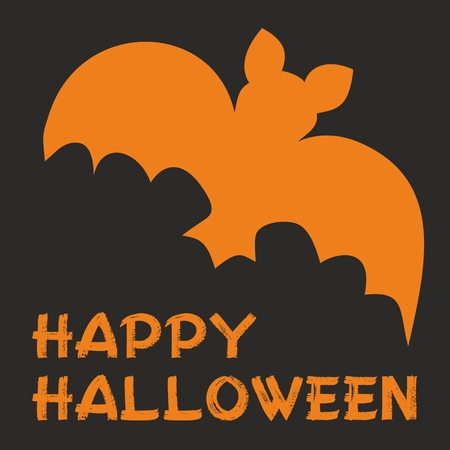 Trick or treat vector card with bat  Orange and black party sign Vector