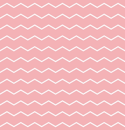 Tile vector pattern with white zig zag on pink background Vector