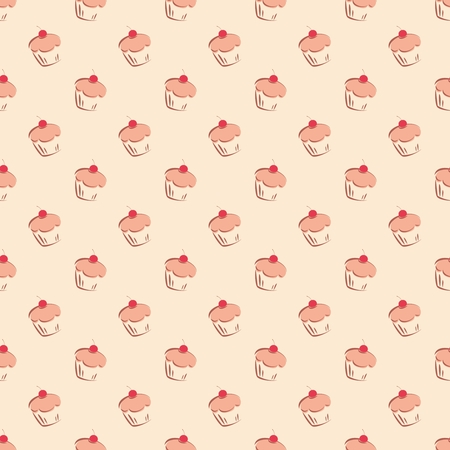 desktop wallpaper: Sin fisuras vector patr�n o la textura con peque�os pasteles de cereza, magdalenas dibujados a mano y torta dulce fondo postre con dulces para papel tapiz del escritorio, decoraci�n o sitio web el blog culinario