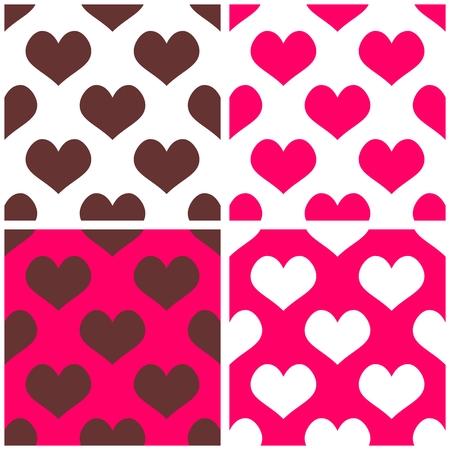 desktop wallpaper: Fondo incons�til del vector rosa engastado con corazones llenos de amor patr�n de fondo de pantalla de San Valent�n de escritorio o dise�o de sitios web en blanco, marr�n y pastel de color rosa