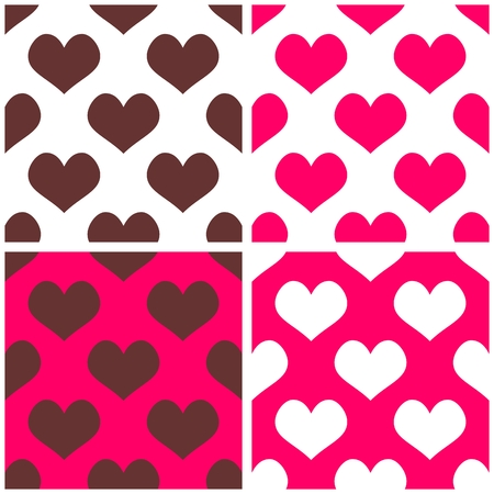 desktop wallpaper: Seamless pink vector background set with hearts  Full of love pattern for valentines desktop wallpaper or website design in white, brown and pastel pink color Illustration