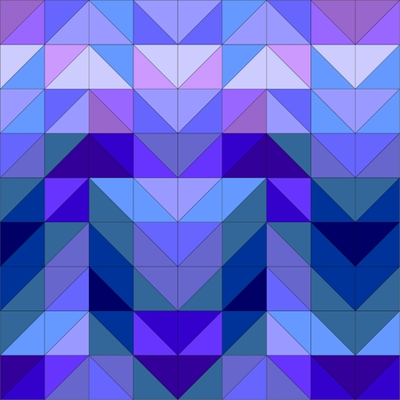 Seamless vector blue pattern, texture or background  Violet, navy blue and dark colorful geometric mosaic shapes  Hipster flat surface design triangle wallpaper with Aztec chevron zigzag print Vector