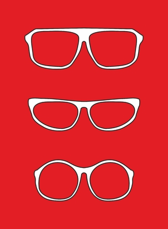 White nerd vector glasses for professor or secretary with thick holder - retro hipster illustration isolated on red background  Illustration
