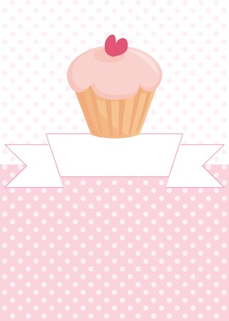 Restaurant vector menu, wedding card, list or baby shower invitation with sweet retro cupcake on pink and white vintage polka dots texture background with white space for your own text message  Vector
