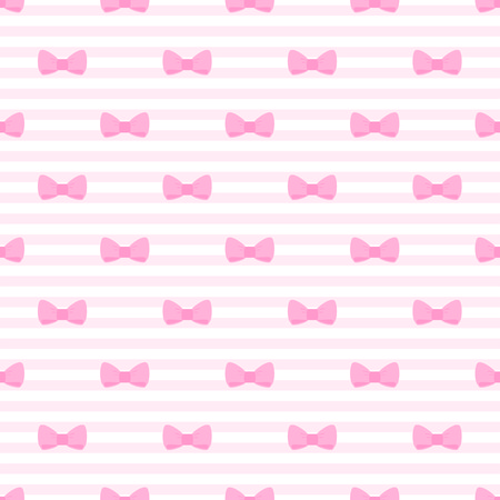 pastel backgrounds: Seamless vector pattern with bows on a pastel pink strips background  For cards, invitations, wedding or baby shower albums, backgrounds, arts and scrapbooks
