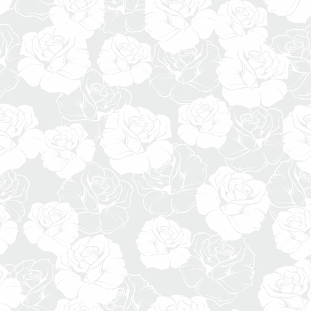 Seamless grey and white floral vector pattern with classic white roses on grey background  Beautiful abstract vintage texture with flowers and cute background for web design or desktop wallpaper