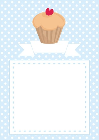 Restaurant vector menu template, wedding card, list or baby shower invitation with sweet cupcake with red heart, on blue pattern white polka dots background with white space for your own text message Vector