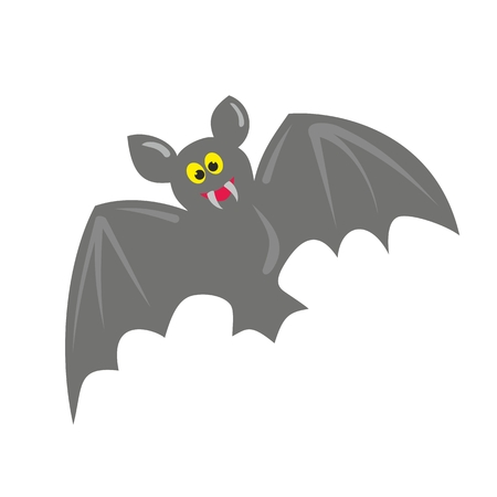 Cute hand drawn bat vector illustration isolated on white background.  Halloween funny cartoon spooky symbol  Vector