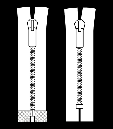 Zipper types  Closed-ended and open-ended scheme zip vector illustration isolated on black background  Vector