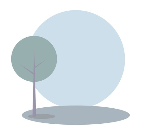 plats: Vector green tree on the hill at blue sky spring or summer day  Idyllic eco landscape, park or scene - flat illustration isolated on white background