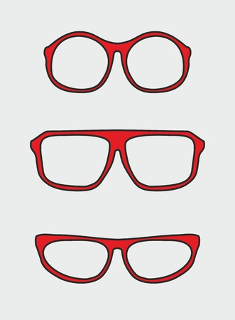 corrective lenses: Red and black nerd glasses with thick holder - retro hipster vector illustration isolated on grey background