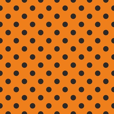 halloween pattern: Black polka dots on orange vector background  Tile decoration wallpaper or autumn pattern