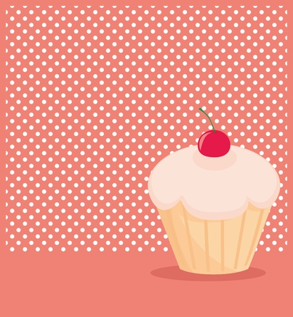 Cherry vector cupcake on white polka dots pink background Vector