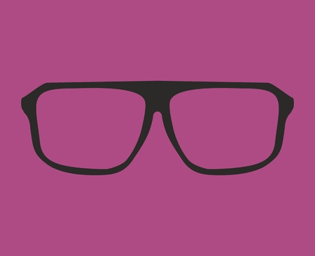 shilouette: Glasses with black thick holder hipster vector illustration isolated on violet background  Medical huge eye glasses shilouette collection  Sign of intelligence, secretary or school teacher