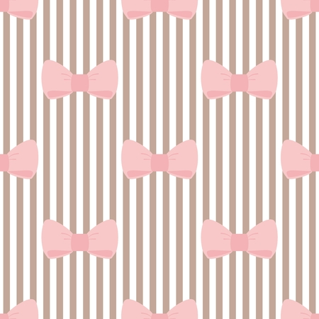 desktop wallpaper: Tile vector pattern with pink bows on brown and white strips background