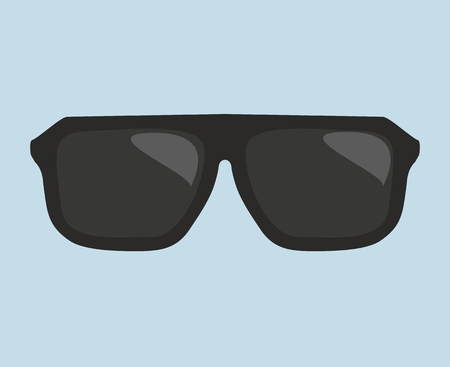 Black hipster sunglasses vector illustration isolated on blue background Vector