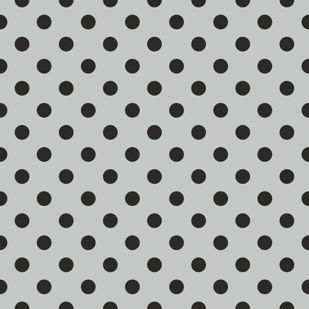 white polka dots: Tile vector pattern with black polka dots on grey background