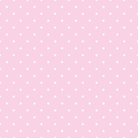 Naadloze vector patroon met witte stippen op een tegel pastel roze achtergrond