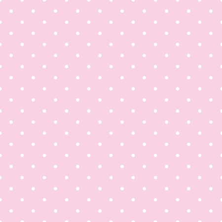 Seamless vector pattern with white polka dots on a tile pastel pink background Vettoriali