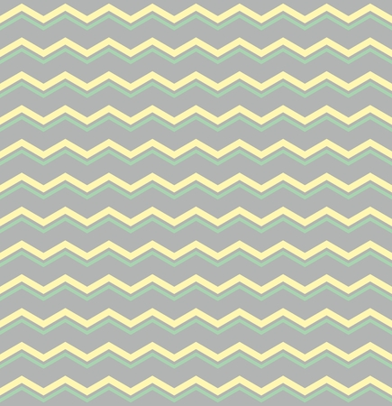 jeans fabric: Tile vector pattern with pastel yellow and green zig zag print on grey background Illustration