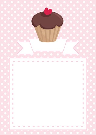 Vector restaurant menu, wedding card, list, baby shower invitation with sweet retro chocolate cupcake on pink and white vintage polka dots texture background with white space for your own text message Vector