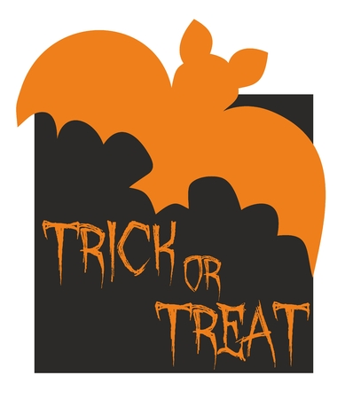 Trick or treat vector card with bat. Orange and black party sign Vector