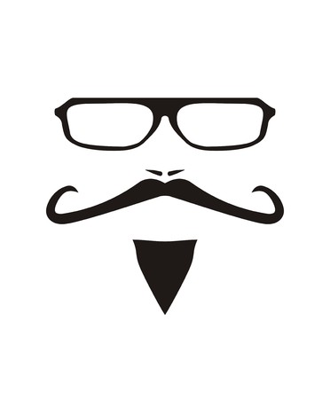 truck driver: Vector men face with long mustache and huge, hipster glasses. Black american retro truck driver silhouette isolated on white background.