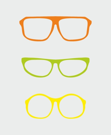 eyewear fashion: Colorful vector glasses set with orange red, green, yellow holder retro hipster object isolated on grey background. Sign of intelligence, professor, secretary, school teacher