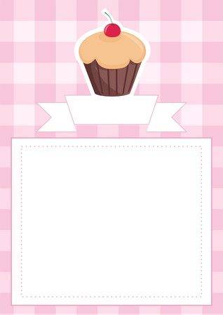 empty space for text: Vector wedding card or baby shower invitation with chocolate cherry cupcake on pink vintage checkered pattern or grid texture background and empty white space for your own text