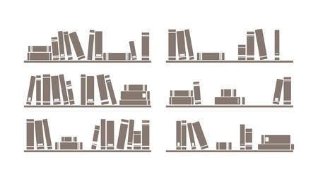 Libros en los estantes, simplemente retro ilustración. Estantería Vintage - objetos de diseño aislados sobre fondo blanco para la decoración, los antecedentes, la textura o papel tapiz interior. Foto de archivo - 31360293