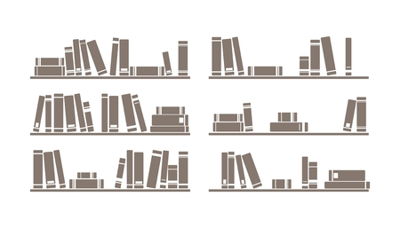 Books on the shelves simply retro illustration. Vintage shelf - design objects isolated on white background for decorations, background, texture or interior wallpaper. Illustration