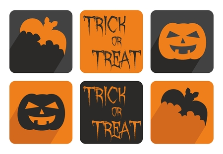 Halloween vector button set with bat and pumpkin. Orange and black sign illustration isolated on white background. Vector