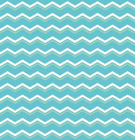 Tile vector pattern with green and white zig zag print on blue background