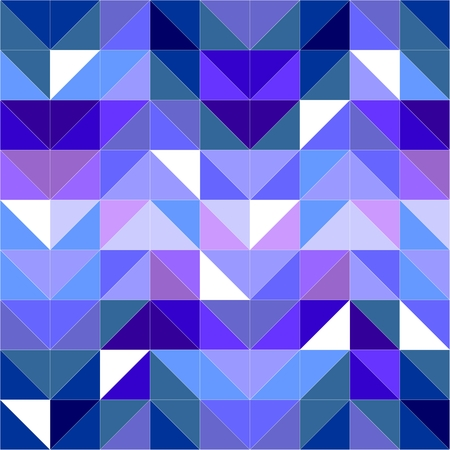 Seamless vector blue pattern, texture or background. Violet, navy blue and dark colorful geometric mosaic shapes. Hipster flat surface design triangle wallpaper with Aztec chevron zigzag print Vector