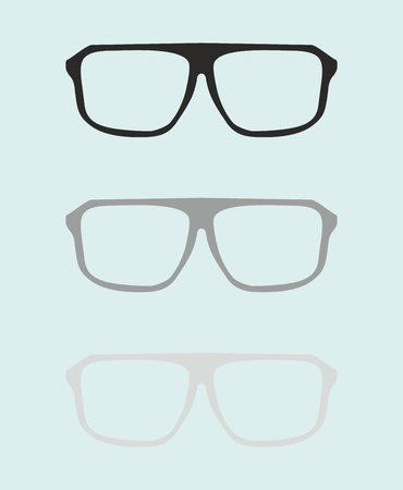 Glasses set with black and grey holder retro hipster object isolated on blue background.  Vector