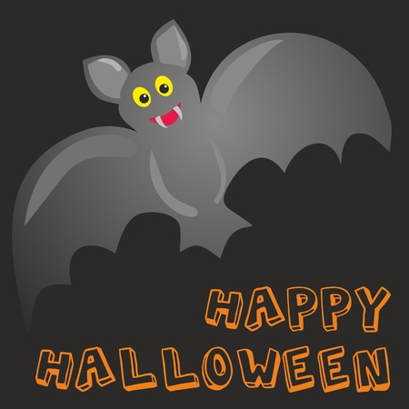 Happy Halloween party card with cute bat and hand drawn wishes Vector