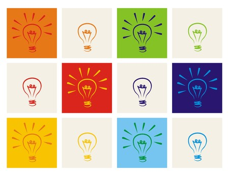 creative arts: Light bulb icon set - hand drawn colorful doodle collection isolated on white  Illustration